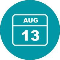 13 augusti Datum på en enkel dagskalender