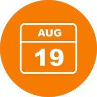 19 augusti Datum på en enkel dagskalender