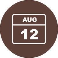 12. August Datum an einem Tageskalender