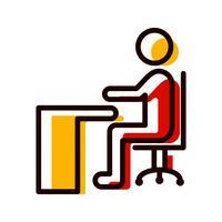 Sitzen auf Schreibtisch-Ikonendesign