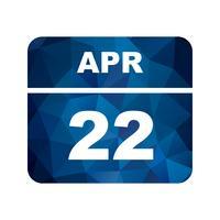 Datum des 22. April für einen Tagkalender vektor