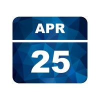 25 april Datum på en enkel dagskalender