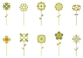 Zehn Retro Blumen Vektoren Pack