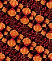 Virvel blommig sömlös mönster. Ornamental bakgrund i rysk stil