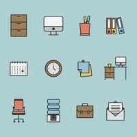 Umrissene Office-Symbole vektor