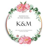 Rosa Pfingstrosenkranzaquarell blüht mit Text, das Blumenaquarell, das auf weißem Hintergrund lokalisiert wird. Entwerfen Sie Dekor für Kartenhochzeit, Einladungsplakat, Fahne.