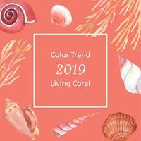 Färben Sie die korallenrote 2019 modisch, Seeoberteillebenszeit-Sommerzeitreise der Strand, Aquarell lokalisierte Vektorillustration