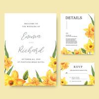 Inbjudningskort för påskliljablommor vattenfärgbuketter, spara datumet, bröllopinbjudningskortdesign. Illustration vektor