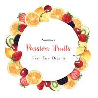 Tropisches Jahreszeitfruchtkranzfahnendesign, orange neuer und geschmackvoller Rahmen der Passionsfrucht, Aquarellkartendesign-Vektorillustration