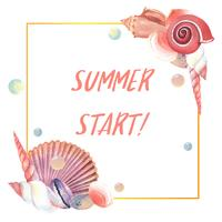 Sea Shell Marine Leben Sommer Reise am Strand, isoliert Aquarell, Vektor-Illustration Farbe Coral 2019 trendy vektor