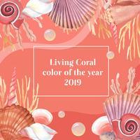 Färg Coral 2019 trendig, Sea Shell Marine Life sommartid reser stranden, aquarelle isolerad vektor illustration