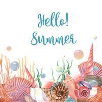 Havskal marint liv sommartid reser på stranden, aquarelle isolerat, vektor illustration Färg Coral 2019 trendig