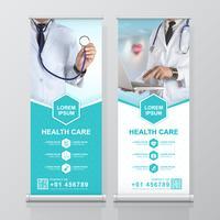 Sjukvård och medicinsk rulle upp design, standee och banner mall dekoration för utställning, tryckning, presentation och broschyr flygblad koncept vektor illustration