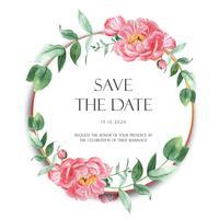 Pink Peony krans akvarellblommor med text, florals aquarelle isolerad på vit bakgrund. Designdekor för kortbröllop, inbjudanaffisch, banner.