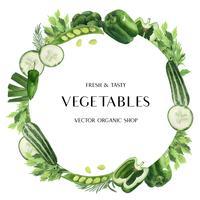 Ideen-Bauernhof des grünen Gemüse-Aquarellplakats organischer Menü, gesundes organisches Design, Aquarellkartendesign-Vektorillustration
