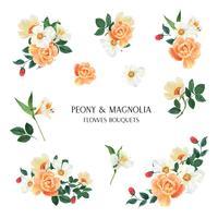 Peony, Magnolia, Lily blommor akvarellbuketter botaniska florals llustration isolerad vektor