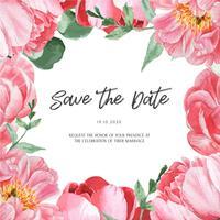 Aquarell-Hochzeitskarten-Einladung der rosa Pfingstrose blühende botanische Aquarellblumen. Entwerfen Sie Dekoreinladungskarte, sparen Sie das Datum, Heiratillustrationsvektor.