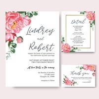 Inbjudningskort för rosa peonyblommor vattenfärgbuketter, spara datumet, bröllopinbjudningskortdesign. Illustration vektor