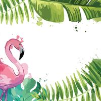 Hintergrund mit tropischen Blättern und Flamingo. vektor