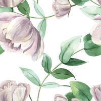 Pfingstrose blüht watercolo Muster nahtloses botanisches Aquarellart-mit Blumenwebarteliebgewebe, Aquarellblütendesigndekoreinladungskarten-Vektorillustration.