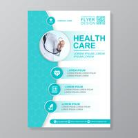 Sjukvårdsskydd a4 malldesign och plana ikoner för en rapport och medicinsk broschyrdesign, flygblad, broschyrer dekoration för tryck och presentation vektor illustration