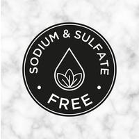 Natrium- och sulfatfri ikon för etiketter av schampo, mask, balsam och andra hårprodukter. vektor