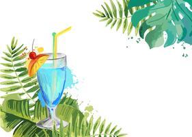 Cocktails. Sommar tropisk cocktail bakgrund med palmblad.