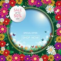 Vårtid blommor försäljning banner och bakgrund. Vektor ESP10 design.