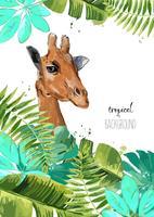 Hintergrund mit tropischen Blättern und Giraffe.