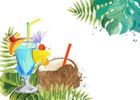 Cocktails Tropischer Cocktailhintergrund des Sommers mit Palmblättern. vektor