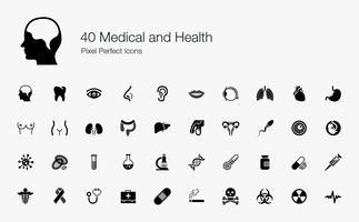 40 Pixel und Symbole für Medizin und Gesundheit.