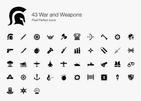 43 Pixel und Symbole für Krieg und Waffen.