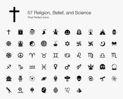 57 Religion, Glaube und Wissenschaft Pixel-perfekte Icons. vektor