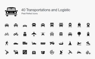 40 Transporte und logistische pixelgenaue Symbole.