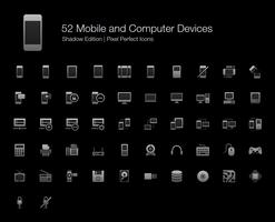 Mobile Geräte und Computergeräte Pixel Perfect Icons Shadow Edition. vektor