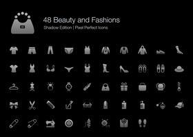 Schönheit und Mode Pixel Perfect Icons Shadow Edition. vektor