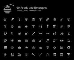 Mat och dryck Pixel Perfect Ikoner Shadow Edition. vektor