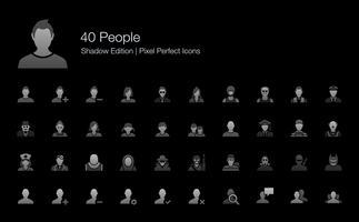 Personer Avatar Karaktär Pixel Perfekta Ikoner Skuggutgåva.