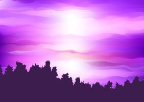 Silhuett av ett trädlandskap mot en abstrakt lila solnedgångshimmel