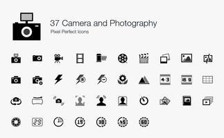 37 Kamera och fotografering Pixel Perfect Ikoner. vektor