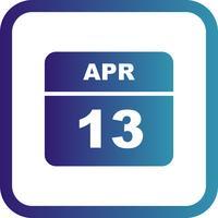 13 april Datum på en dagskalender