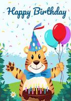 Alles Gute zum Geburtstag Tiere Illustration