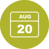Datum des 20. August für einen Tageskalender