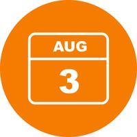 3 augusti Datum på en enkel dagskalender