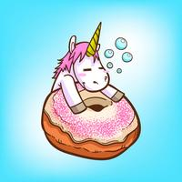 süßes Einhorn und Donuts