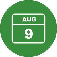 9 augusti Datum på en enkel dagskalender
