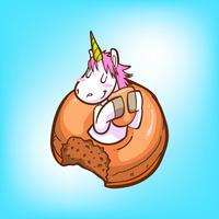 süßes Einhorn und Donuts vektor