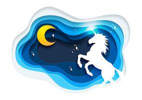 Abstrakt av enhörning, papper konst enhörning koncept, Unicorn vektor konst och illustration.