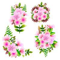 Bukett akvarell, blomma vektor blommig uppsättning. Färgrik blommig samling med löv och blommor, teckning vattenfärg.