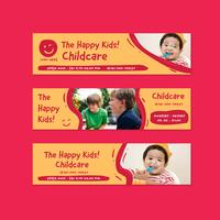 barnomsorg banner flygblad design mall i klotter tecknad film barn stil vektor